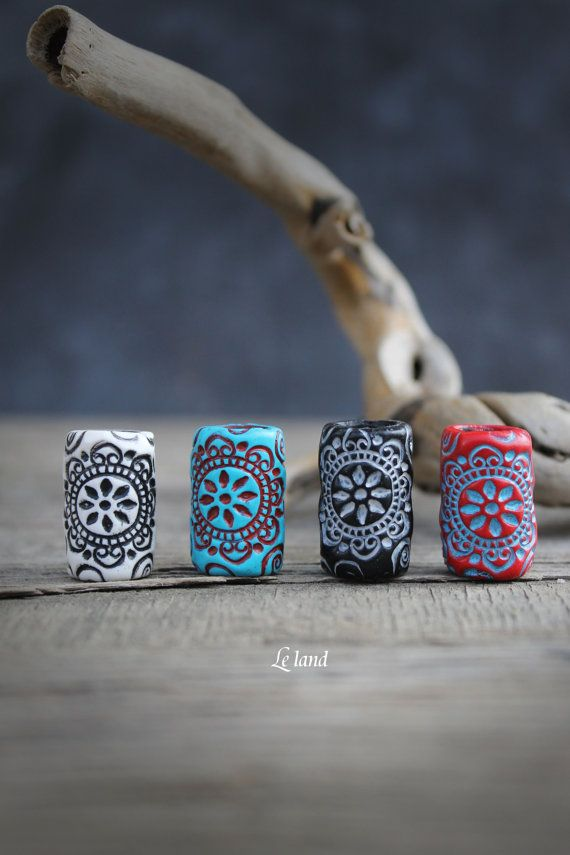 Mandala beads for dreadlock jewelry dread by Lelandjewelry on Etsy                                                                                                                                                     More