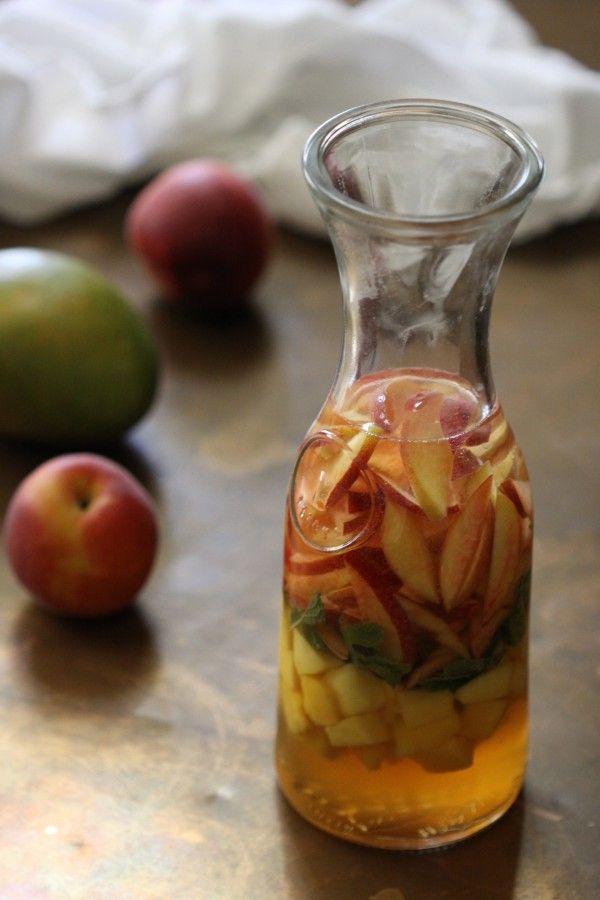 Mango, mint, and peach summer sangria