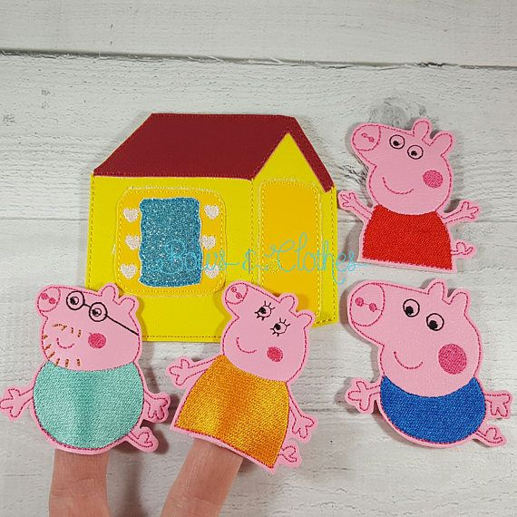 Pep Pig finger puppets and case embroidery design digital instant download