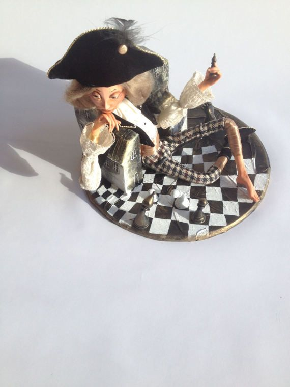 The chess player  Interior dolls  Art doll  OOAK doll