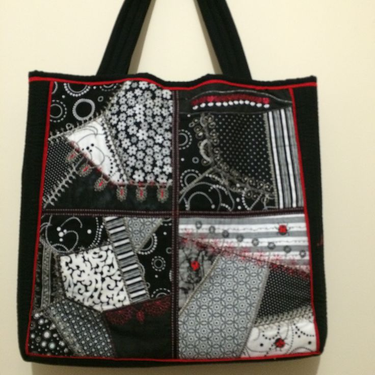 Machine Embroidered Crazy Patch Tote other side