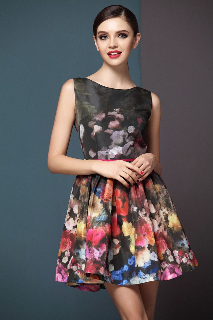Multi Round Neck Sleeveless Zipper Floral Dress $58.5