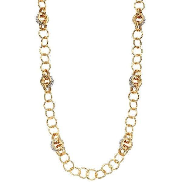 Jennifer Lopez Long Chain Necklace (Gold Tone) ($38) ❤ liked on Polyvore featuring jewelry, necklaces, gold tone, jennifer lopez, fake jewelry, artificial jewellery, imitation jewelry and gold tone necklace