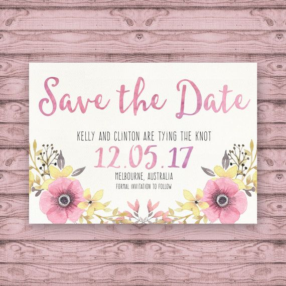 Watercolour Wedding Save The Date Cards - Print at Home File or Printed Invitations - Desert Flower Save The Date - Floral Romantic Pink