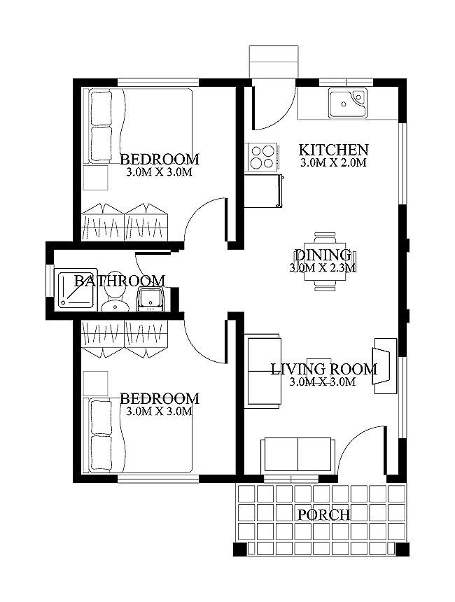 523 sq. ft. 2 bedroom. Hmm. 1) change front bedroom to a porch with entry.  2) remove existing front porch and door  3) Add loft bedroom and storage over bedroom and kitchen. These changes  should bring the square footage down by about 100 sq ft.