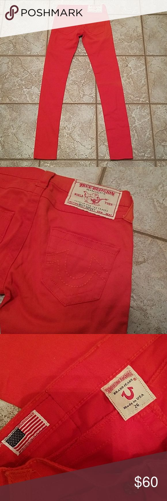 True Religion blood orange skinny jeans Size 26 True Religion blood orange skinny jeans in perfect condition! True Religion Jeans Skinny