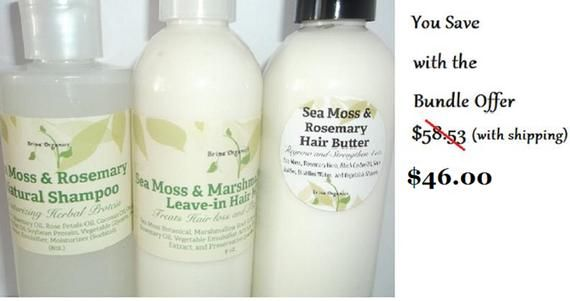 Sea Moss Hair Care Line Bundle 3 Step Natural Hair System Sea Moss Botanical Protein Hair Strengthening Brina Organics Natural Hair Styles Sea Moss Hair Protein