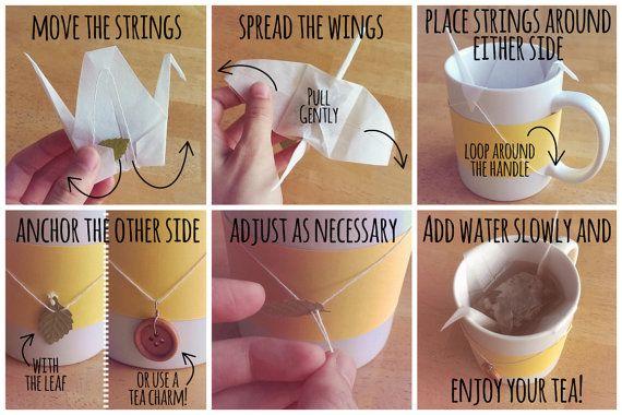 Tea bag, crane origami Teagami. Pick your own tea.  by LittleTinyPiranha