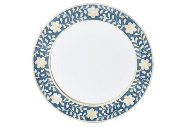 Fay Bone Inlay Accent Mirror, Blue