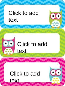 OWL & CHEVRON NAME PLATES {EDITABLE} - TeachersPayTeachers.