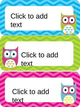 Owl & Chevron Name Plates {Editable}