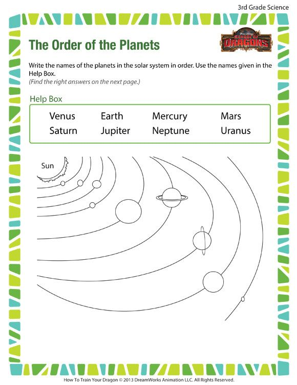 The Order Of The Planets Printable Science Worksheet For