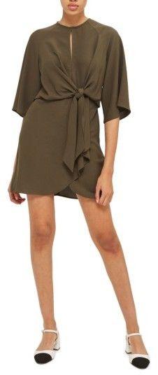 Women's Topshop Tie Front Minidress