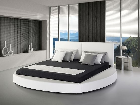 Bed 180x200 Cm Super King Size Genuine Leather With Slatted Frame White Laval