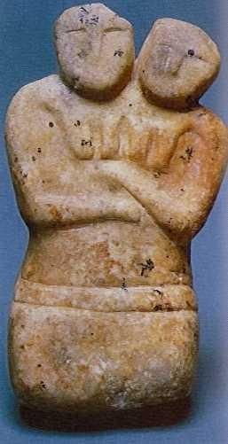 Marble statuette of the twin goddesses, from Catalhoyuk.  First half of the 6th m. BC.  Height 17.2 cm