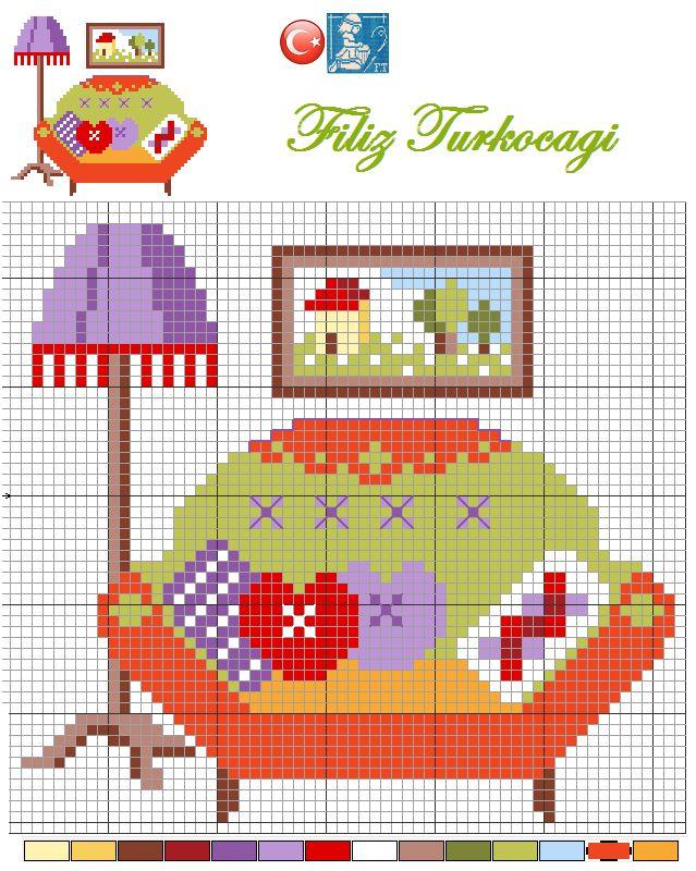 Küçük desenlerden bir koltuk çalışması daha sunayım sizlere...Designed by Filiz Türkocağı... ( miniature )