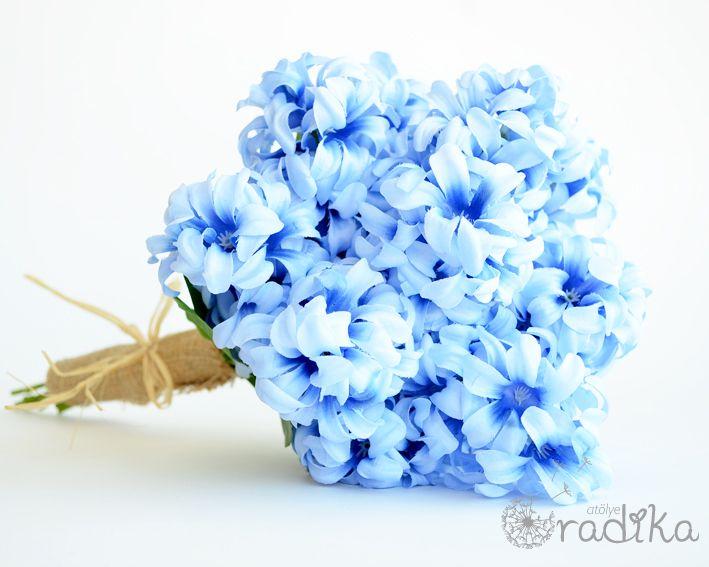 Mavi yapay sümbül, gelin buketi / Blue artificial hyacinth, bridal bouquet