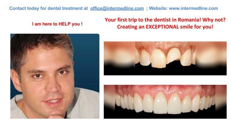 Need a cosmetic dentist, a root canal dentist, a teeth cleaning dentist, a dentist for extraction, a general dentist? With our dentist specialists in Romania you can solve any type of dental treatment. Visit website and contact today for your dental treatment at office@intermedline.com: +40 311.073.167/ +40 730.482.672; website:http://www.intermedline.com/dental-clinics-romania/ #dentaltourism #dentaltourisminRomania #dentist #dentistinRomania #dentalclinic #dentalclinicinRomania #dental #de