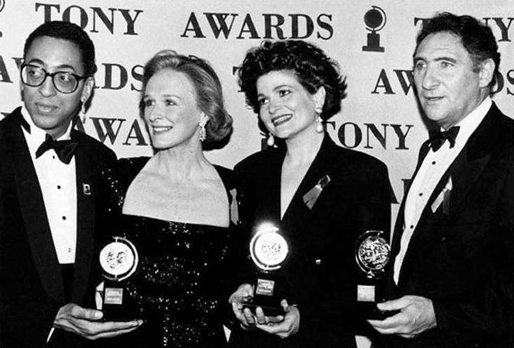 Gregory Hines (Jelly's Last Jam); Glenn Close (Death and the Maiden); Faith Prince (Guys and Dolls); and Judd Hirsch (Conversations with My Father), winners at the 1992 Tony Awards.