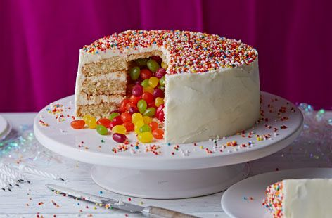 The kids will go crazy over this Surprise Piñata Cake. A delicious vanilla sponge with sweets hidden inside it's centre. Even adults won't be able to control their excitement!