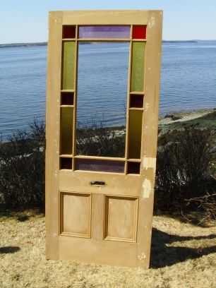 Architectural Antiquities - 94.Victorian stained glass cottage style door, 35 3/4 x 83, $995.00