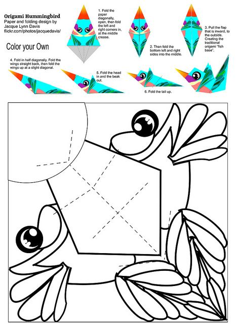 Origami Hummingbird - color your own | Flickr - Photo Sharing!