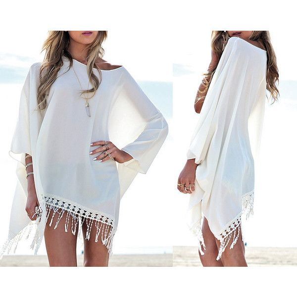 Beach Cover Up womens gift for women summer dress Chiffon dress White... ($28) ❤ liked on Polyvore featuring swimwear, cover-ups, open cardigan, white bathing suit, white swimsuit, beach cover up and swim cover up