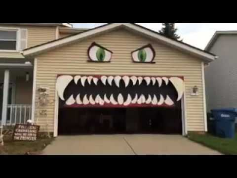 Halloween Diy Monster Garage Door The Mouth Closes As The Door Opens