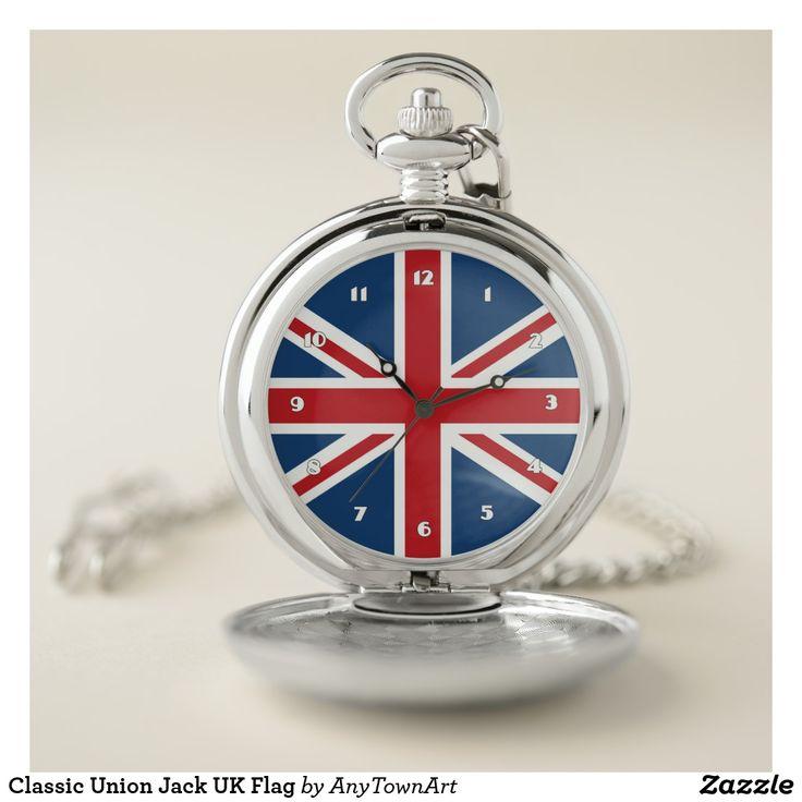 Classic Union Jack UK Flag Pocket Watch