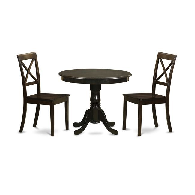 3 Piece Kitchen Table Set-Small Kitchen Table Plus 2 Dining Chairs (Wood seat), Cappuccino, Size 3-Piece Sets