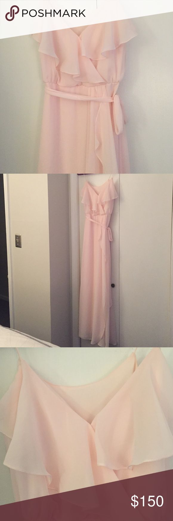 Blush Nouvelle Amsale Gown Nouvelle Amsale 'Drew' Ruffle Front Chiffon Gown in 'Peony'. Size XS, worn once. Nouvelle Amsale Dresses Wedding