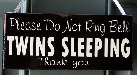 Do Not Disturb Twins Sleeping door hanger  custom by creativecatt, $13.00
