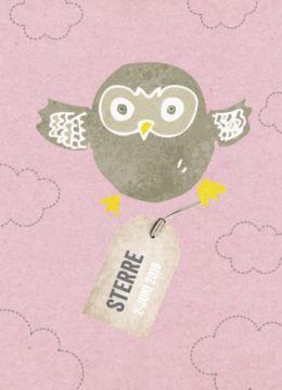 Trendy geboortekaartje met mooie illustratie van een uil en roze achtergrond.  Aan haar poot hangt een label met de naam en datum van uw dochtertje.
