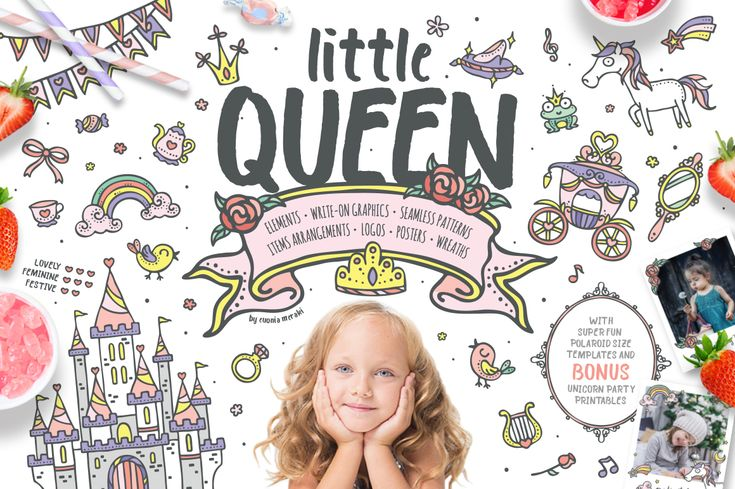 30%OFF, normal price $19, 1 week offer only! don't miss it :)  Little queen, adorable princess graphic pack. Cute clipart download for baby kids girls, princess off all ages.