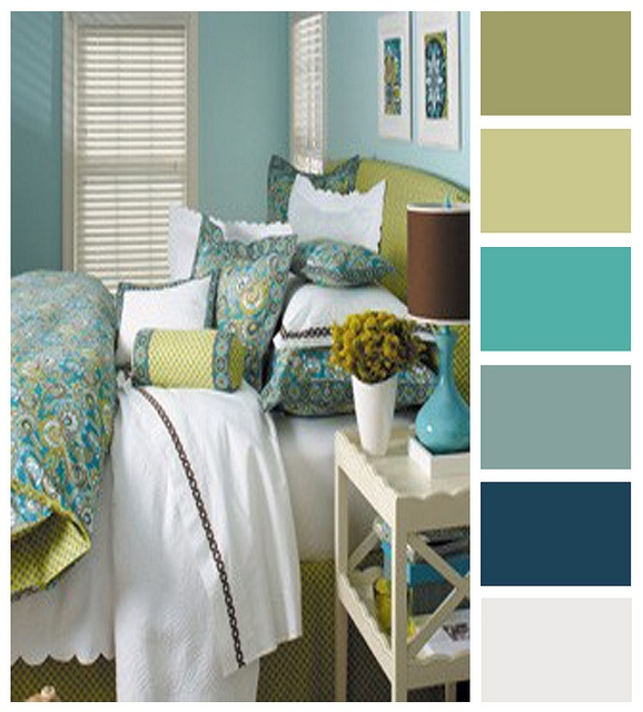 Light and sunny. Yellow, beige, blue, and green palate