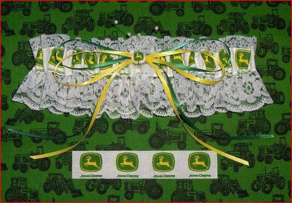 White Lace John Deere Fabric Bride Wedding Toss by 1723diane, $16.00