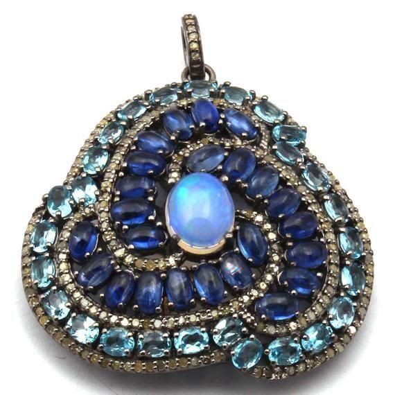 925 Sterling Silver Opal Pave Pendant Blue Topaz /& Diamond Pendant Pave Diamond Pendant Kynite Diamond Pendant