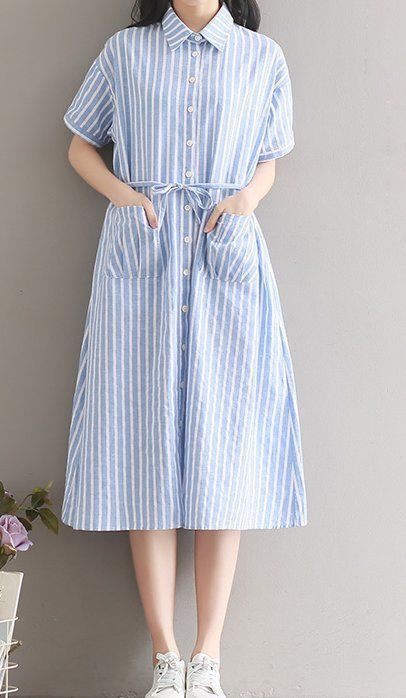 Women loose fit over plus size stripes pocket dress long tunic skirt fashion #Unbranded #dress #Casual