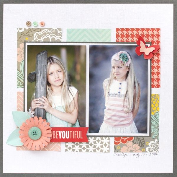 #papercraft #scrapbook #layout.  Pebbles Home + Made collection - scrapbooking layout idea