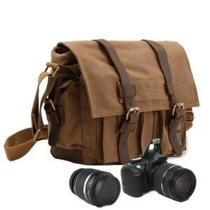 Sacoche Sac à Bandoulière Toile pr SLR Appareil Photo Reflex Numérique comme Sony Canon Nikon Olympus