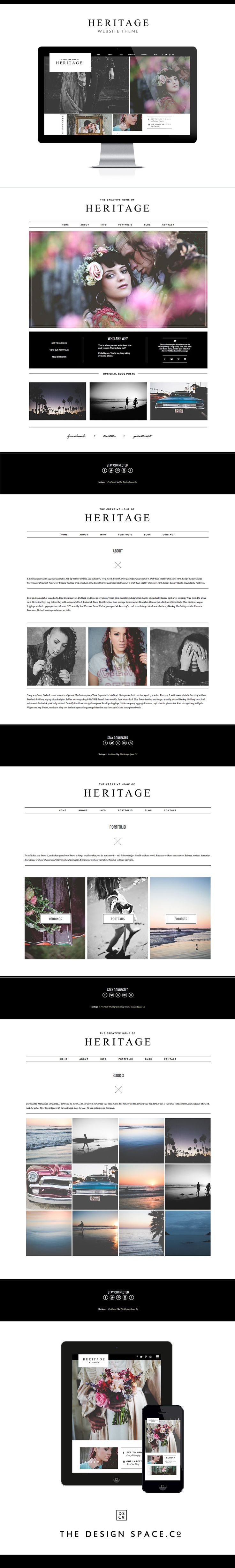 Heritage Website Theme for photographers and small creative businesses. Website design, ProPhoto, photography blog, clean website, WordPress theme By the http://www.thedesignspace.co