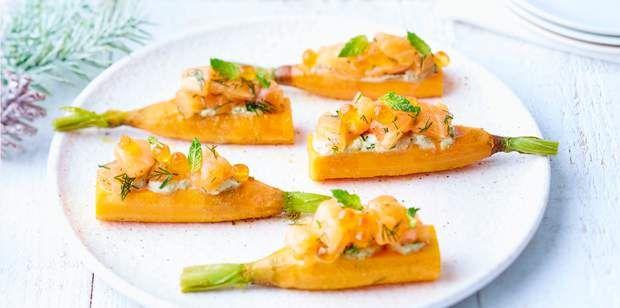 Saumon de Norvège mariné croc'carotte et sa crème mentholéeSaumon de Norvège mariné croc'carotte et sa crème mentholée