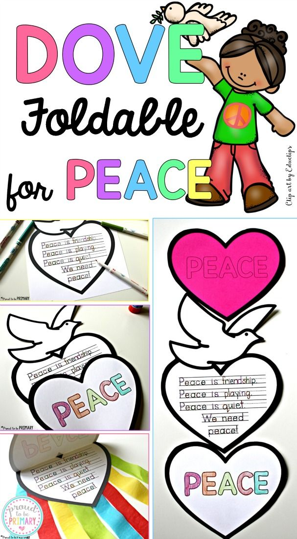 Teach kids about peace in the classroom and create this FREE dove peace foldable writing craft for Remembrance Day, Veteran's Day, MLK Day, International Peace Day.