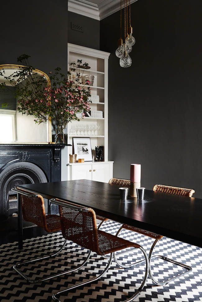 dark dining room and petterned floor...  Chelsea Hing encore - desire to inspire - desiretoinspire.net - black walls