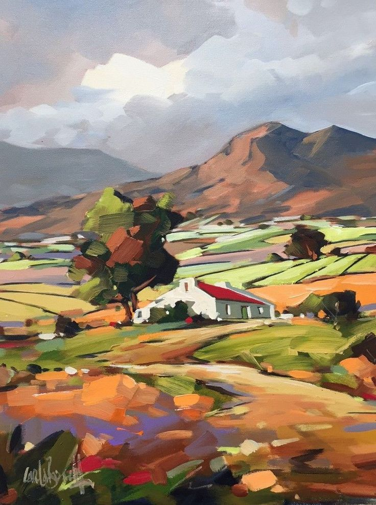"""Farmhouse in the Mountains"", Oil Painting by Carla Bosch, South African Artist ...."