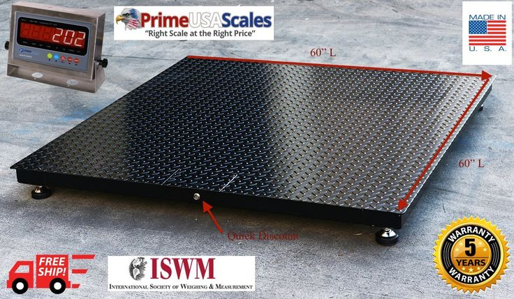 "5x5 Floor Scale 20,000 x 5 lb Pallet Scale Heavy Duty Steel. 20,000 Capacity x 5 lb Accuracy. 1/4"" thick plate 200% Overload Protection. 5 Year Warranty Steel Deck; 2 Year Electronics. PS-IN202SS Stainless Steel Indicator. Low Profile Design of 3.5"" H."