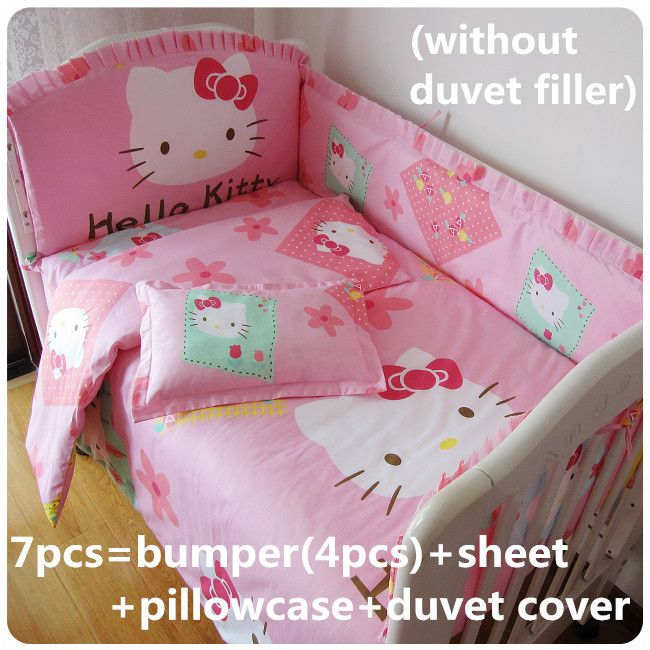 Discount! 6/7pcs Hello Kitty baby bedding new winter cot bedding set ,120*60/120*70cm