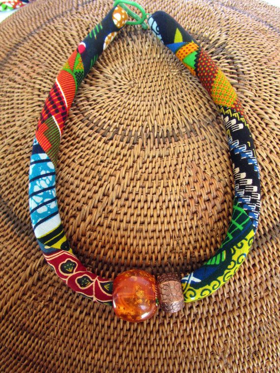 Statement necklace chunky/ African bold jewelry/ Tribal fabric necklace, Ethnic jewelry,  Bib necklace, Bohemian necklace, colorful necklace