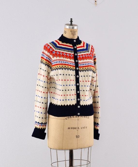 Vintage Fair Isle ski sweater, cardigan