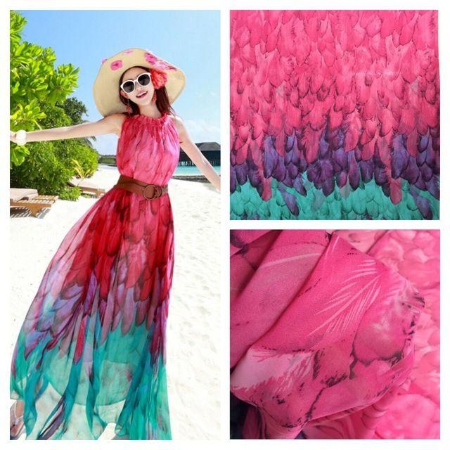 2016 Feather Dress Shirt Printed Chiffon Fabric Graded Bohemia Beach Skirt Scarf Fabric Color 3